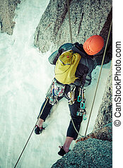 Climber on the route. Aiguille du Midi - Climber on the ...