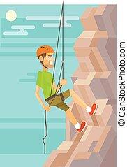 climber., plat, vecteur, illustration