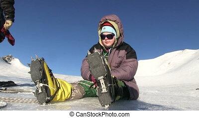 Climber Resting On A Glacier - Climber resting on a glacier...