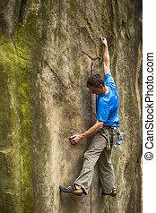 climber., rocher
