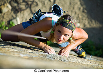 Climber - Image of pretty woman climbing on the rock