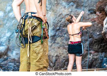 Climber with rock climbing equipment, Close up