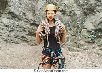 Climber woman with rope