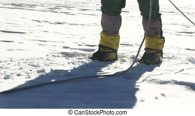 Climbers walk - Climbers go up  to the mountain pass
