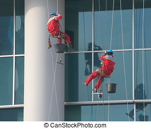 Climbers - window cleaners at work