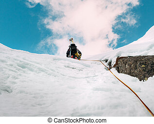 climbing:, alpinista, duri, ruta, nieve, hielo, roca, mezclado