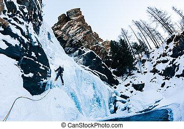 climbing:, alps., hielo, icefall, trepador masculino, italiano