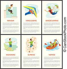 Climbing and Bungee Jumping Rafting Poster Set