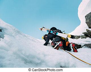 climbing:, bergbeklimmer, duri, route, sneeuw, ijs, rots, gemengd
