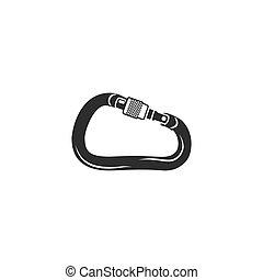 Climbing carabiner icon. Silhouette style symbol. Black ...