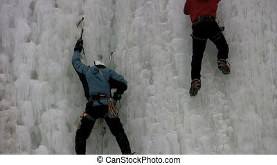 Climbing - close up of two ice climbers