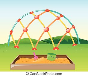 Climbing dome and sandpit in the park illustration