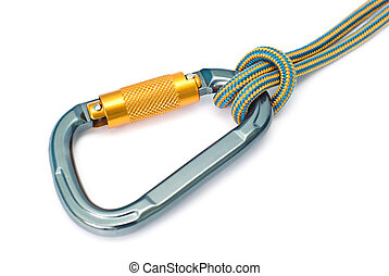 climbing equipment - carabiner and rope - Isolated new...