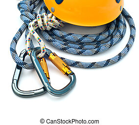 climbing equipment - carabiners, helmet and rope