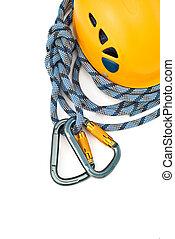 climbing equipment - caraners, helmet and rope