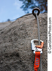 Climbing equipment - Climbing carabiner on a steel rope -...
