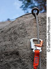 Climbing equipment - Climbing carabiner on a steel rope - ...