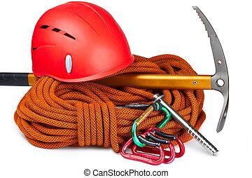 Climbing equipment - Climbing rope, carabiners, ice axe, ...