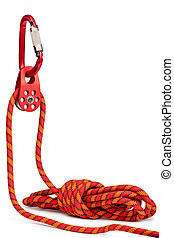 Climbing equipment - pulley, rope, carabiner. Isolated on a ...