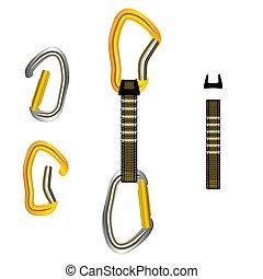 Climbing equipment vector set.