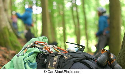 Climbing Gear Piled UP - Traditional sport climbing gear on...