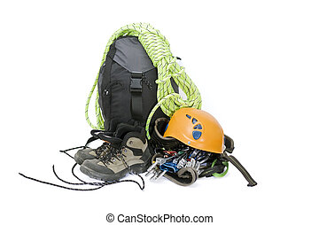 Climbing gear - Some gear for climbing isolated on white