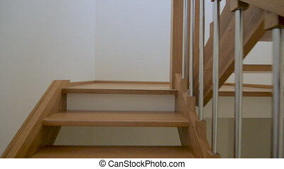 Climbing house stairs - Climbing the brown stairs step by...