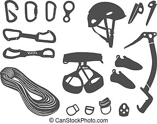 Climbing items vector set - Climbing equipment vector set