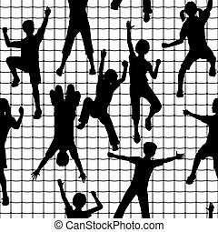 Editable vector seamless tile of children silhouettes climbing a rope mesh