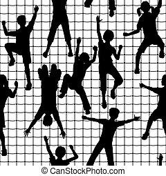 Climbing kids tile - Editable vector seamless tile of...