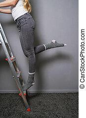 climbing ladder in socks household accident risk -...