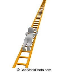 Climbing man and ladder. 3d rendered illustration.