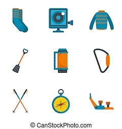 Climbing mountain icon set, flat style