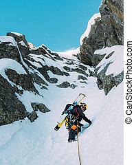climbing:, mountaineer, duri, rota, neve, gelo, rocha, misturado