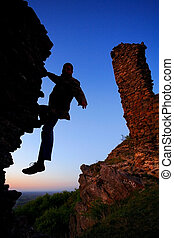 Climbing on Siria old fortress, Arad, Romania