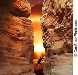 Climbing on sunset