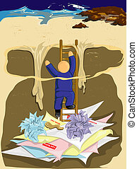 Climbing out of debt - Illustration of a man climbing out of...