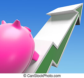 Climbing Piggy Shows Growing Investment Or Savings
