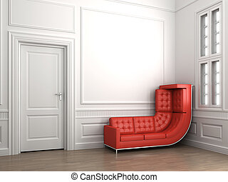 climbing red couch on classic white room