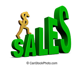 """A gold dollar sign climbing green steps forming the word, """"SALES"""". Isolated on white with drop shadow."""
