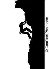 Climbing - Silhouette of a woman free climbing