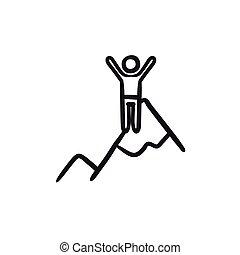 Climbing sketch icon.