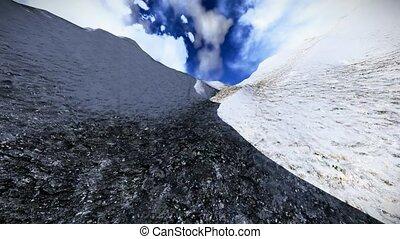 Climbing snowy mountain - extreme weather