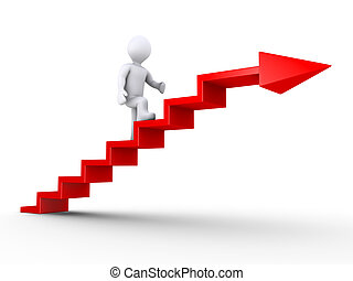 Climbing stairs of success - 3d person climbing red stairs...