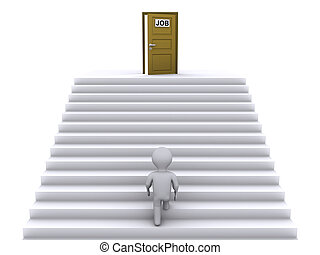 Climbing stairs to find job