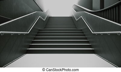 Climbing the black stairs to white light. Ambitions concept....