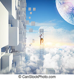 Climbing the future - Businessman with a ladder on the sky