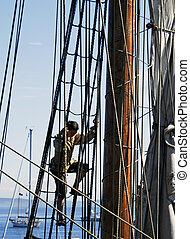 climbing the rigging - sailor in the riggin of ship