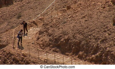 Climbing the stairs to the Masada