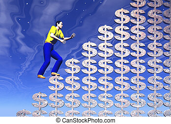 Climbing to success - Climbing a mountain of golden dollars...